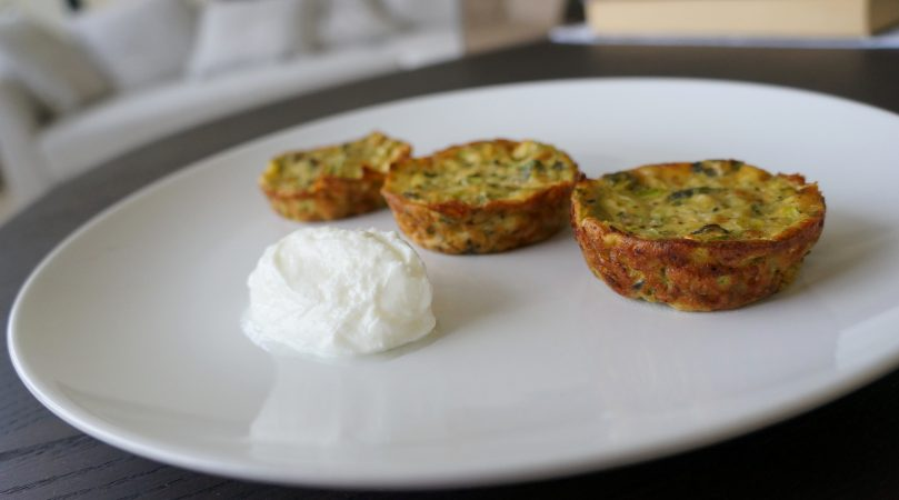 Zucchini Savory Muffins with Mint and Yoghurt (Mücver)