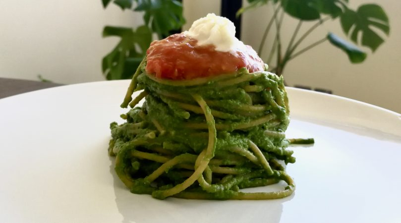 Spaghetti with Kale Pesto, Roasted Cherry Tomatoes and Mozzarella Foam